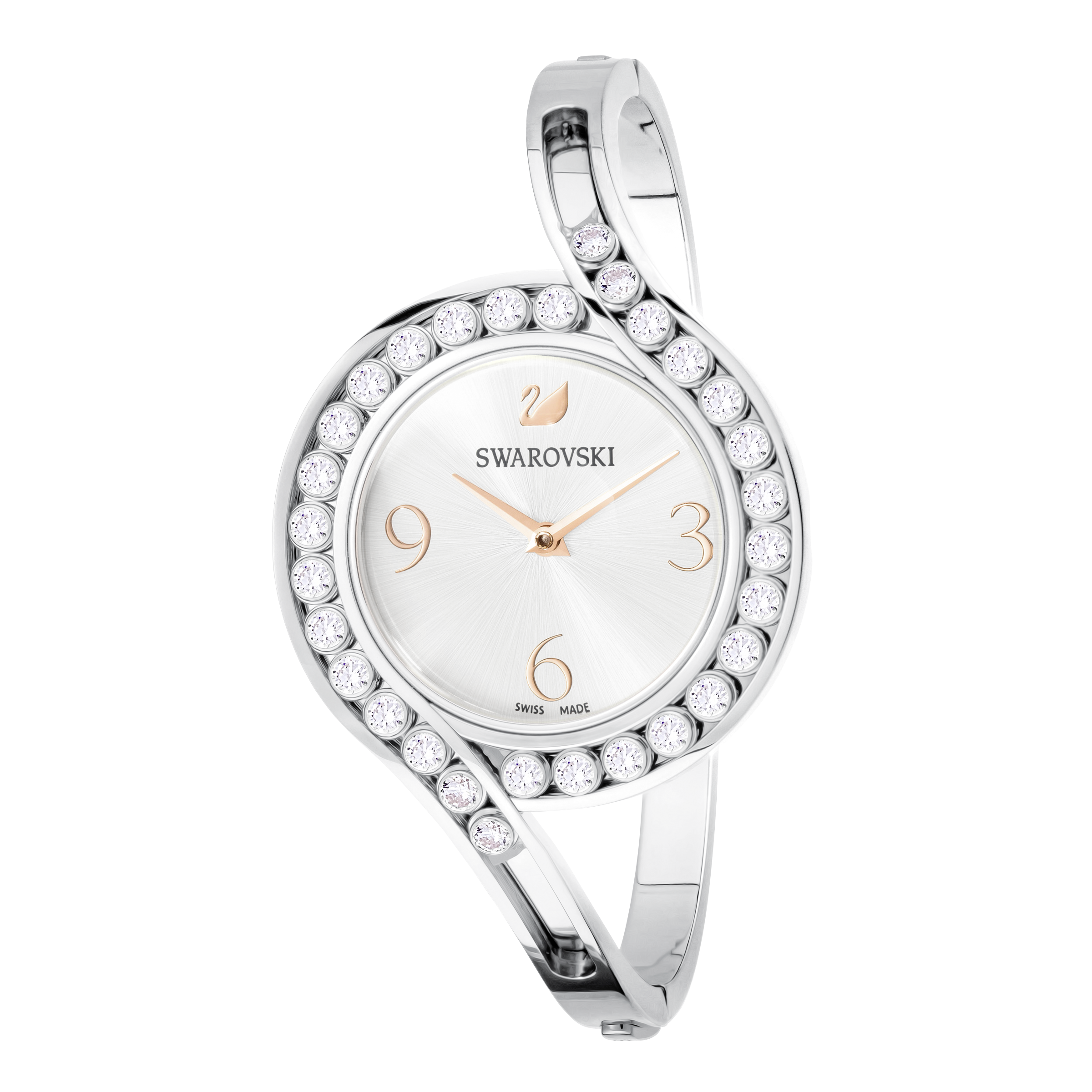Lovely Crystals Bangle Watch, Metal bracelet, White, Silver tone
