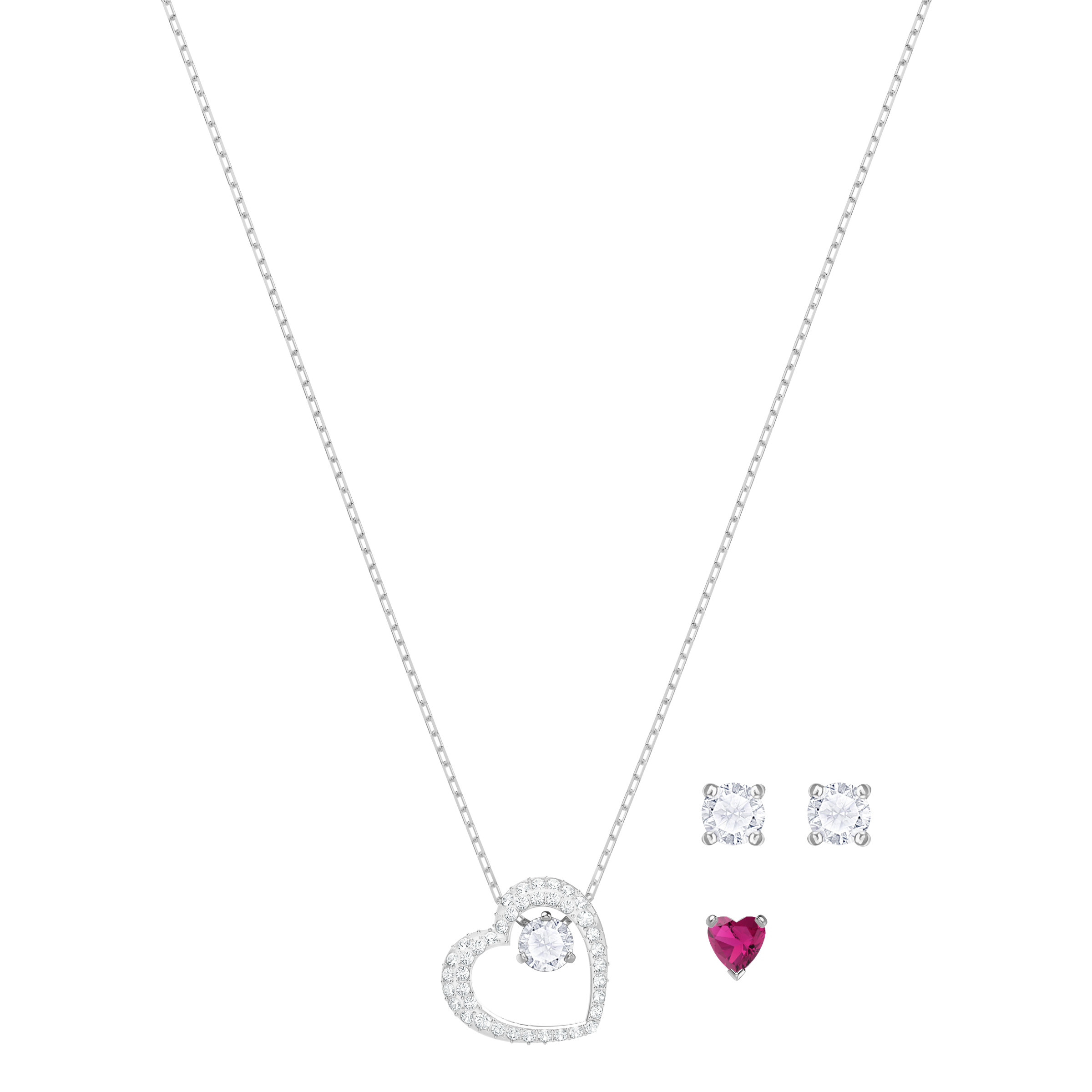 Love Set, White, Rhodium plated