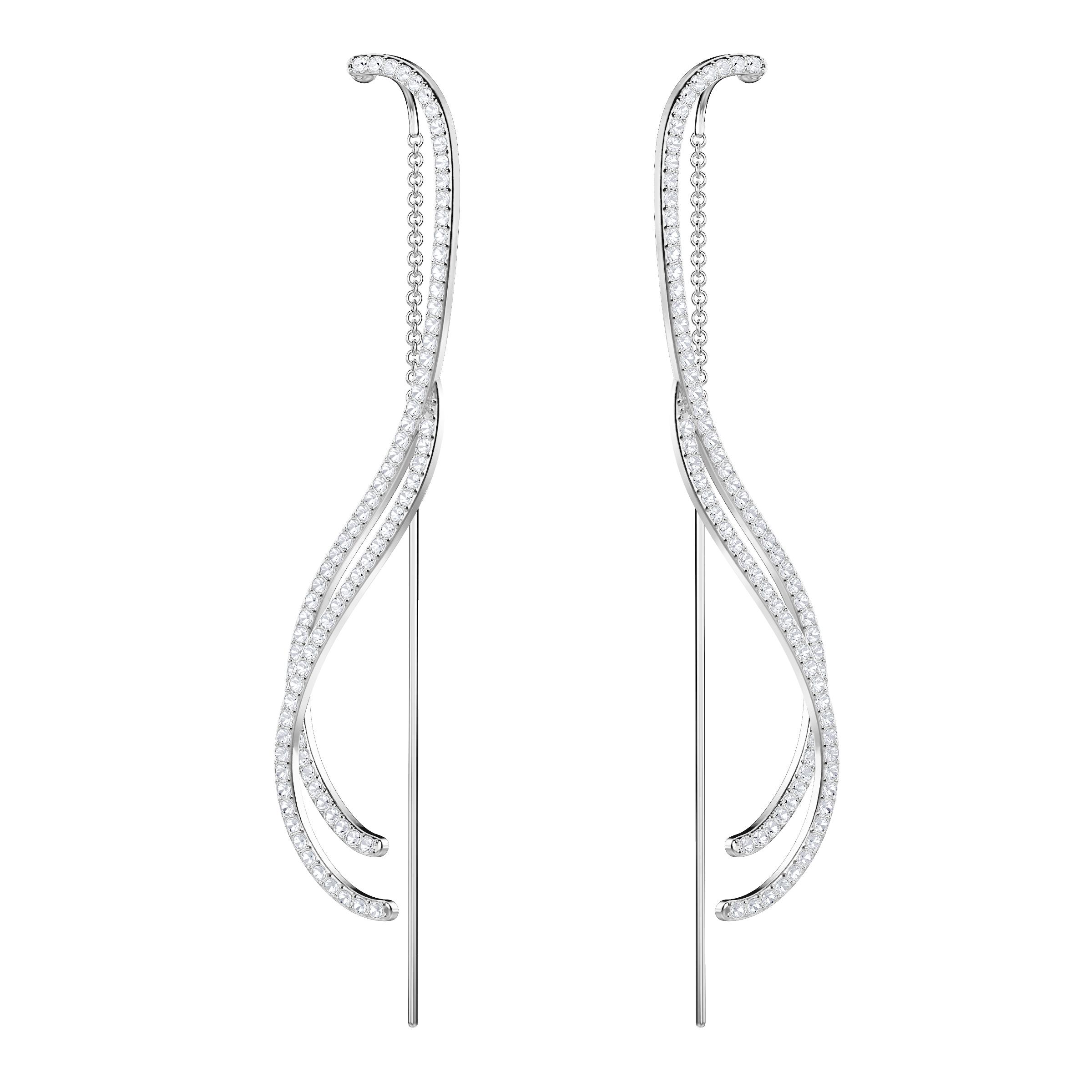 Lemon Chain Pierced Earrings, White, Rhodium Plating