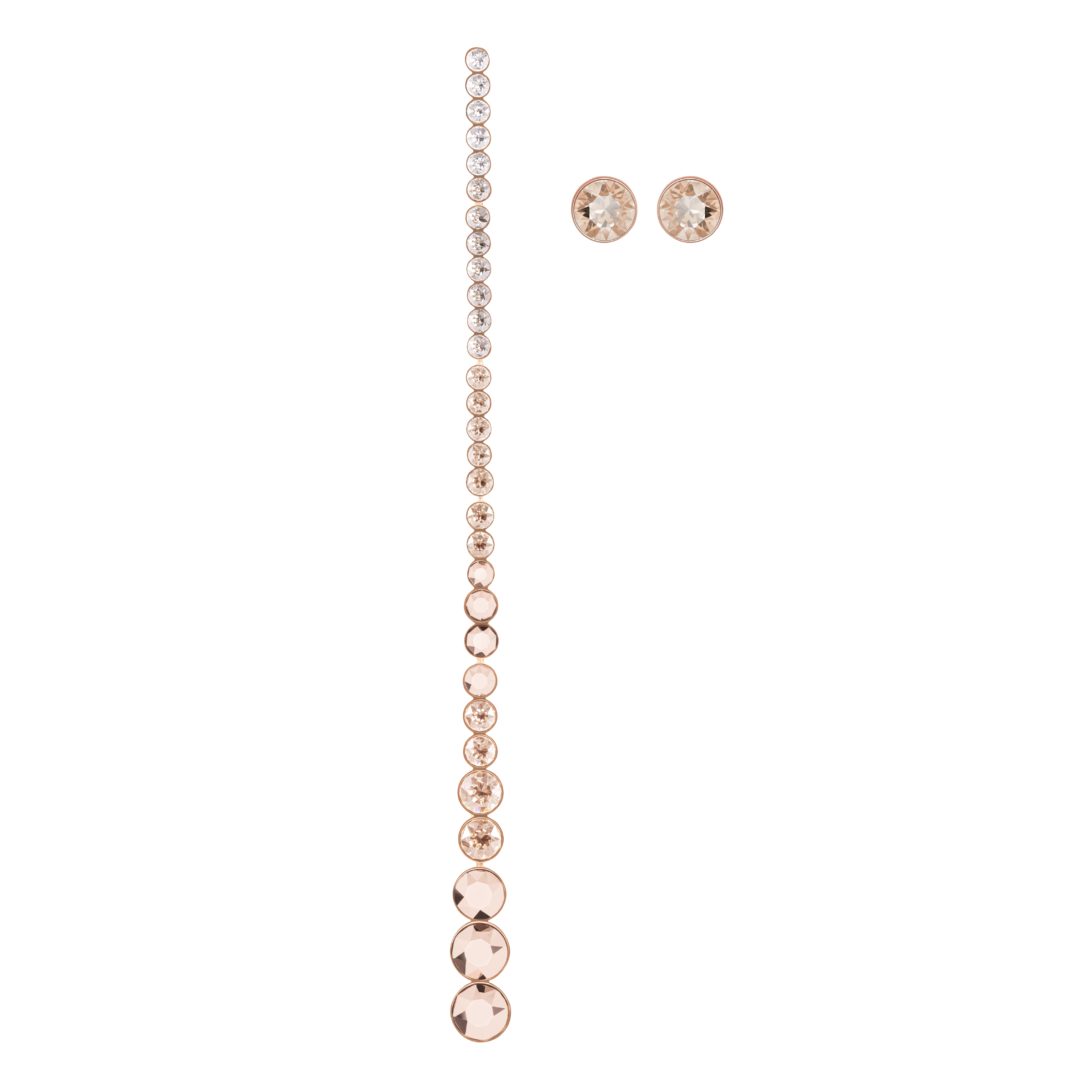 Ocean View Pierced Earrings, Multi-colored, Rose gold plating
