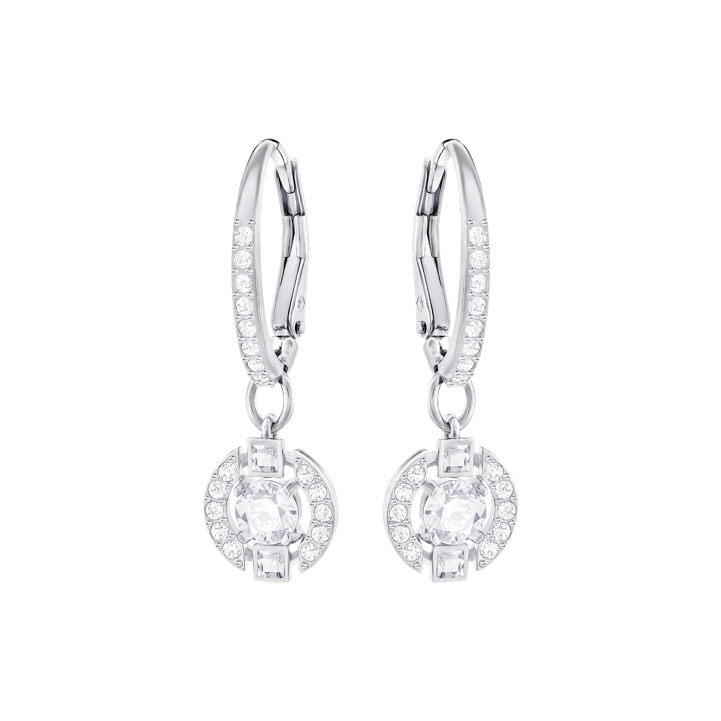 Sparkling Dance Round Pierced Earrings, White, Rhodium Plated