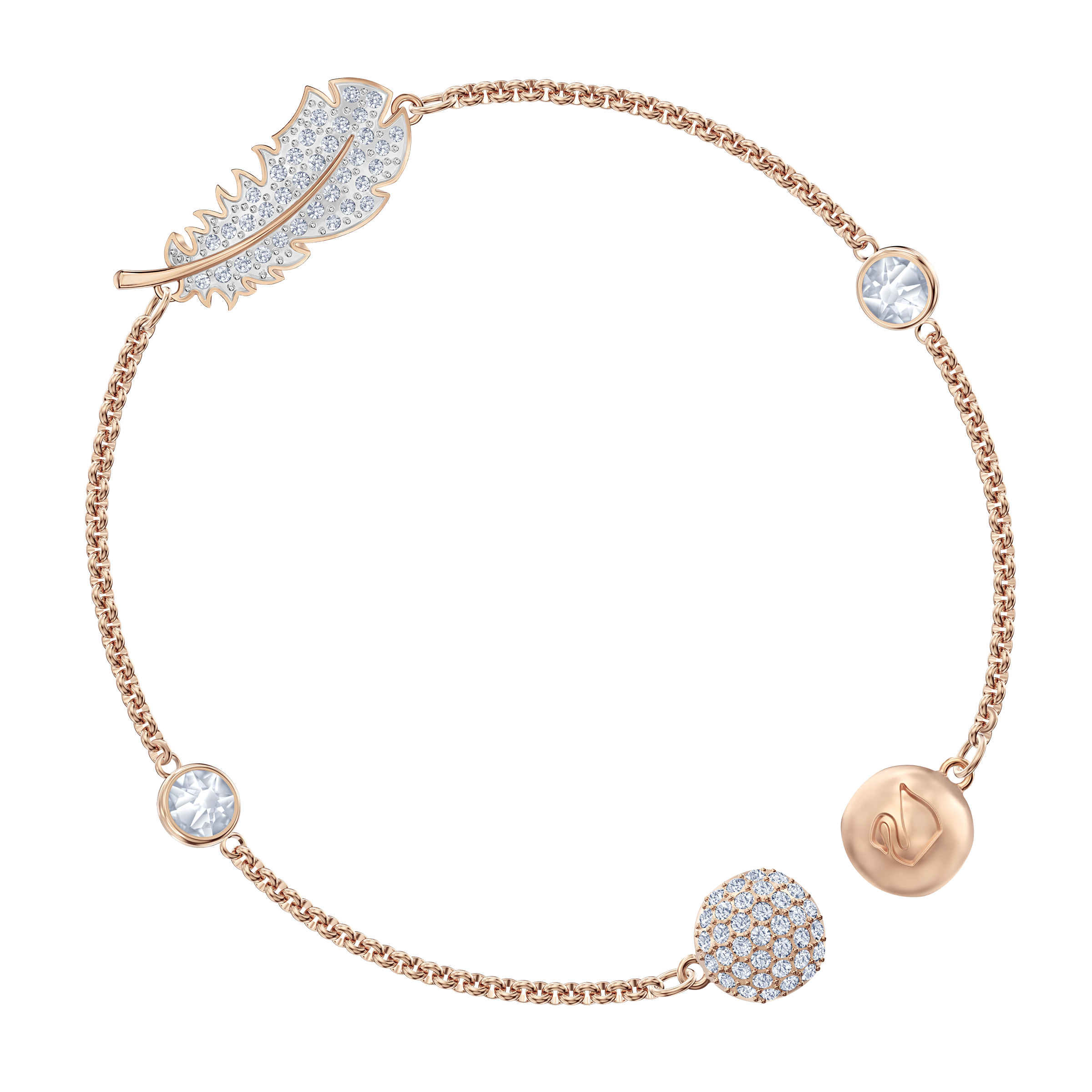 Swarovski Remix Collection Feather Strand, White, Rose-gold tone plated