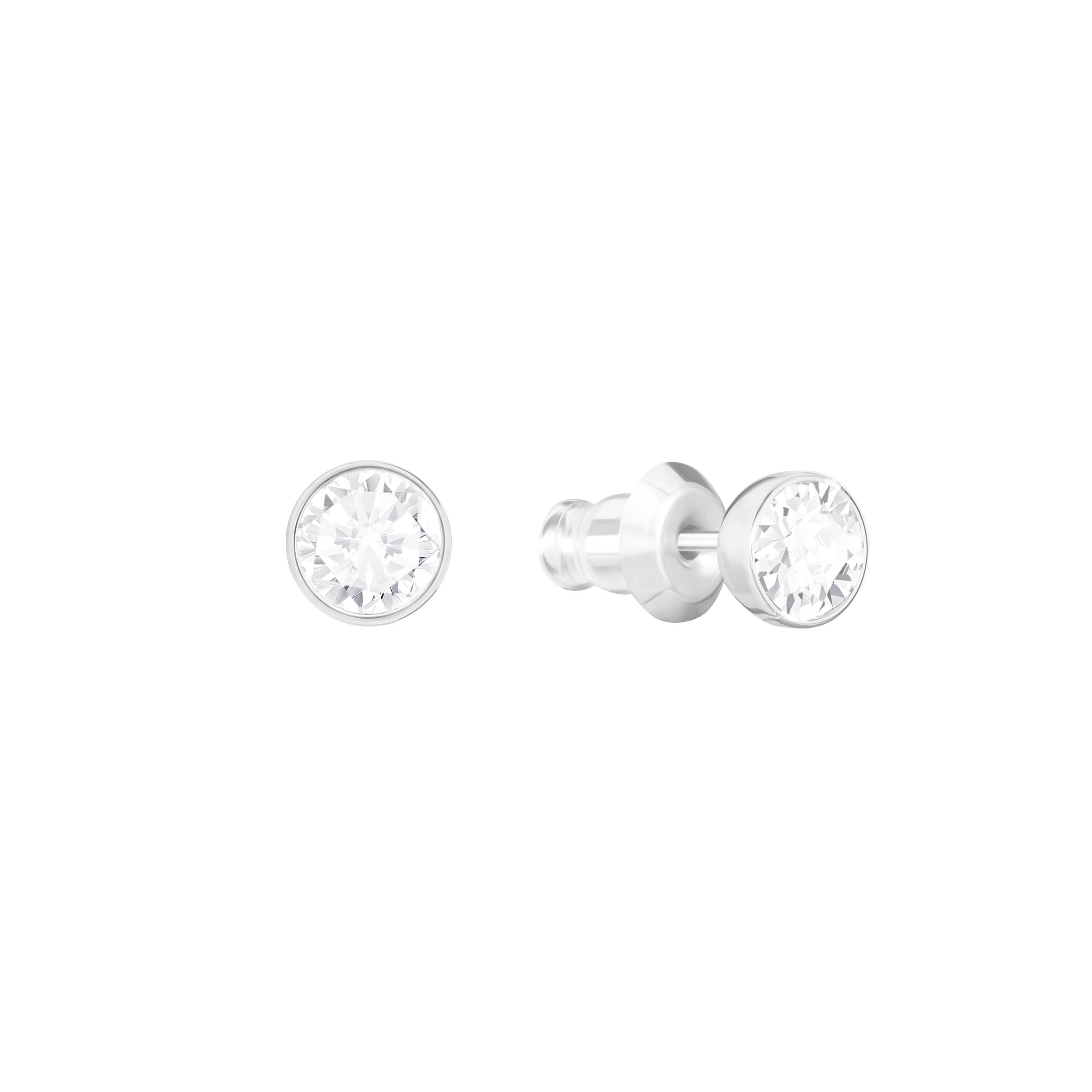 Swan Lake Pierced Earring Jackets, White, Rhodium Plating
