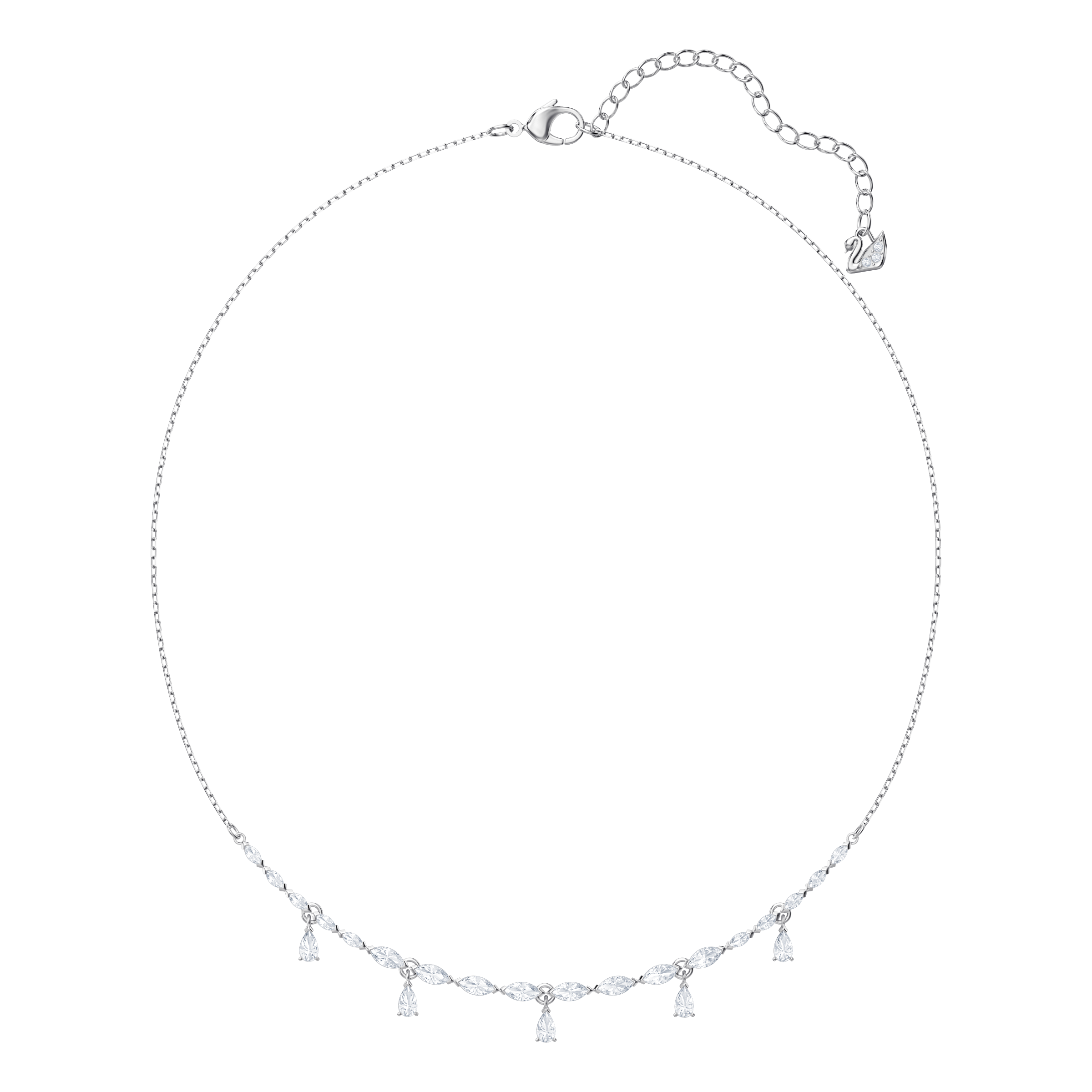 Louison Necklace, Small, White, Rhodium Plating