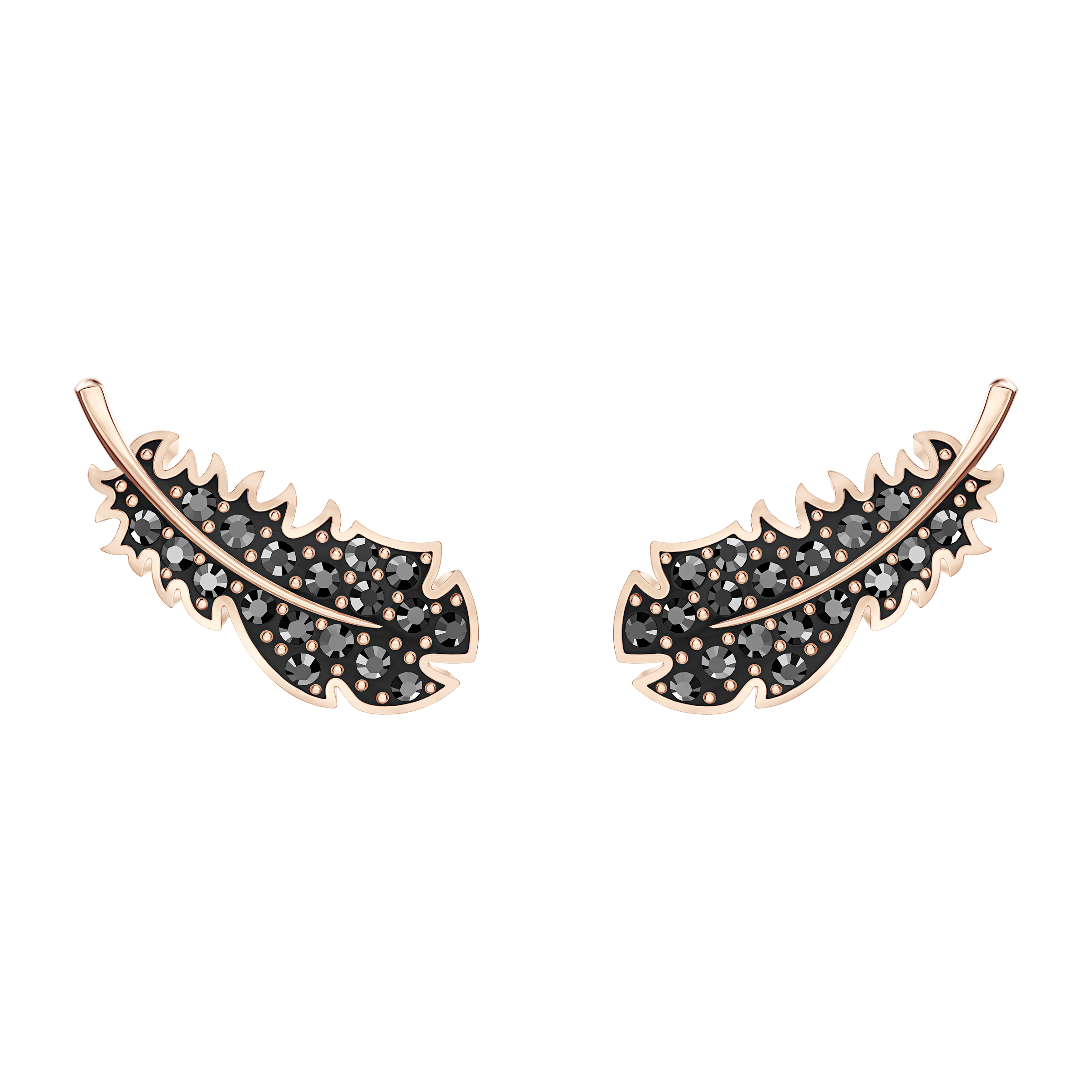 Naughty Pierced Earrings, Black, Rose-gold tone plated