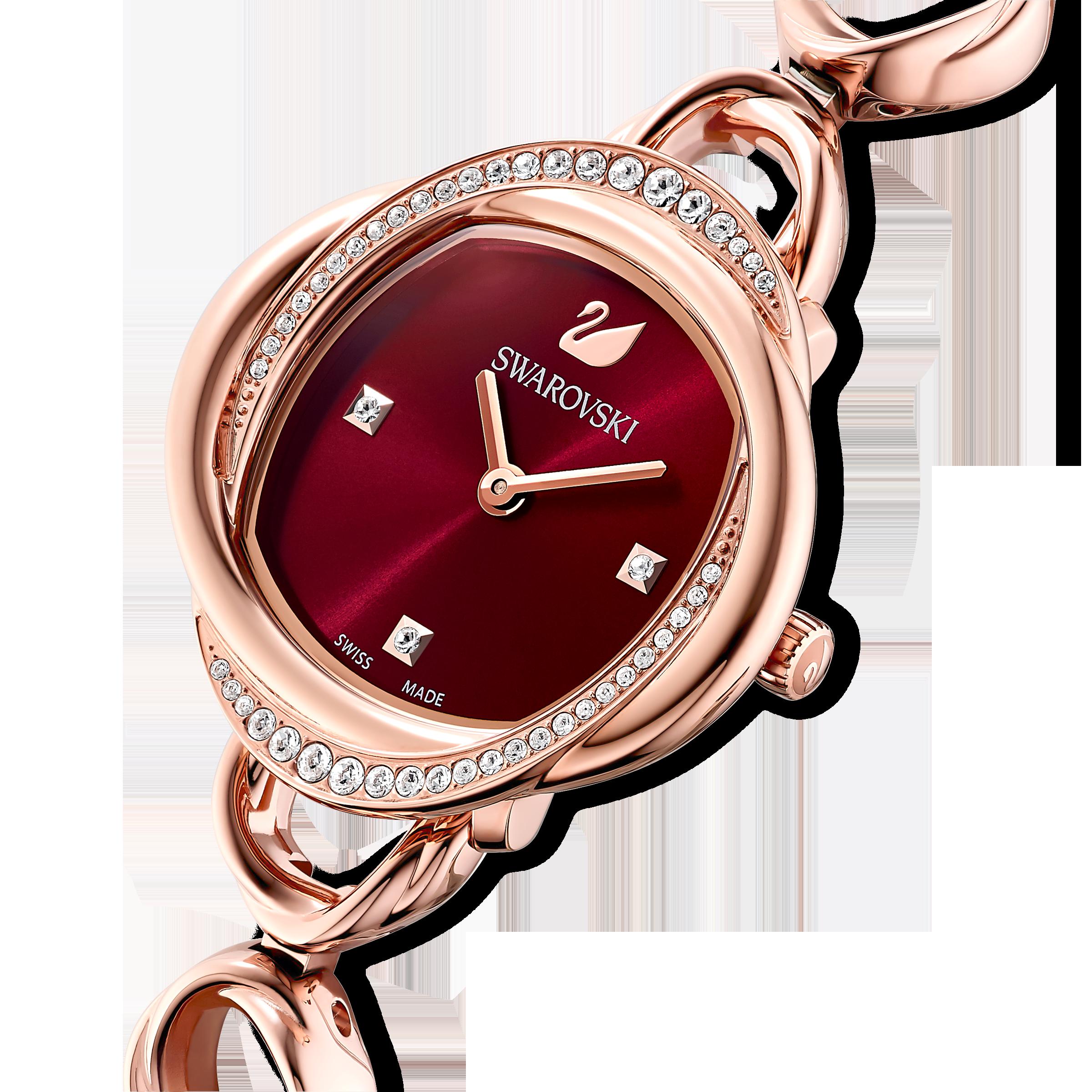 Crystal Flower Watch, Metal bracelet, Red, Rose-gold tone PVD