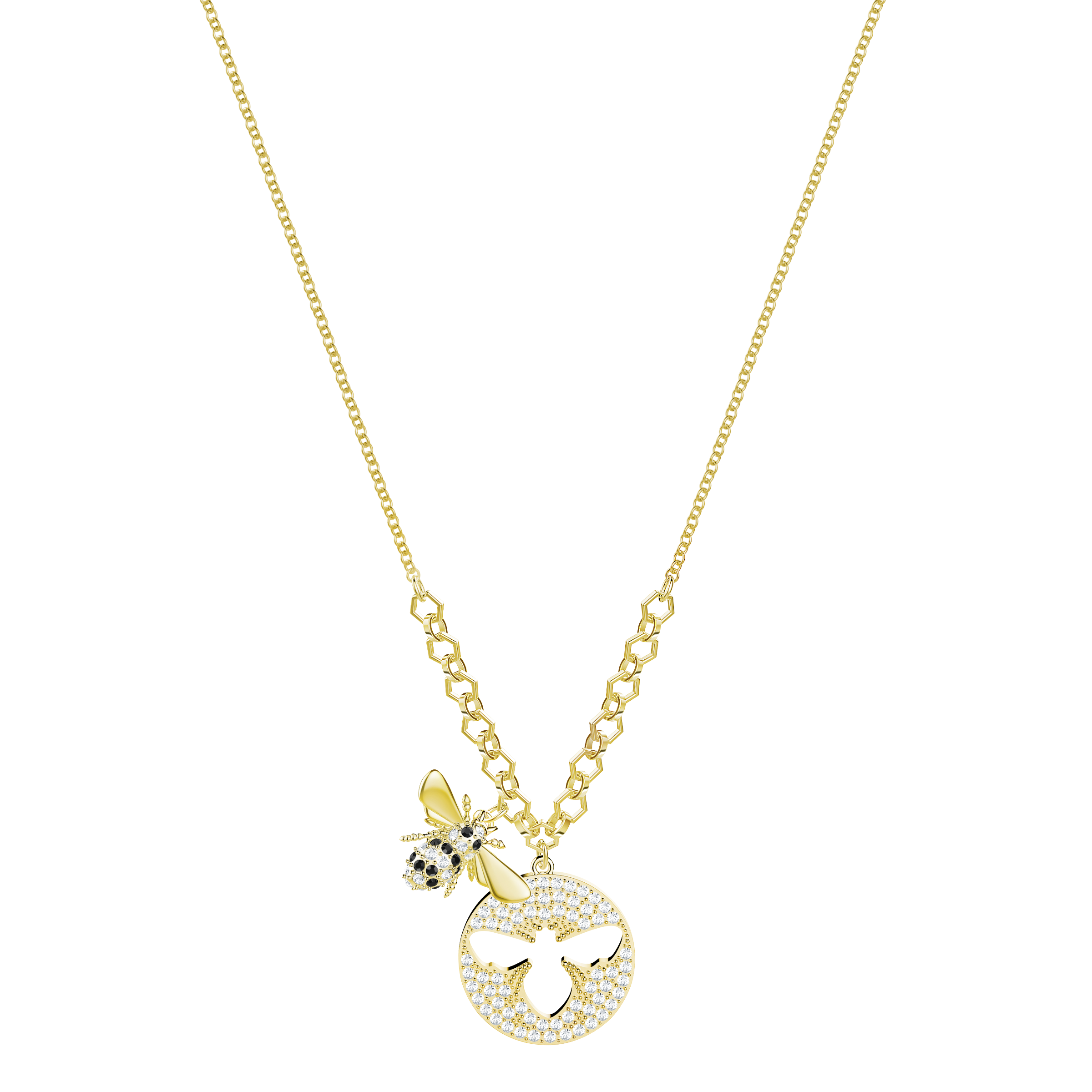 Lisabel Necklace, Small, White, Gold Plating