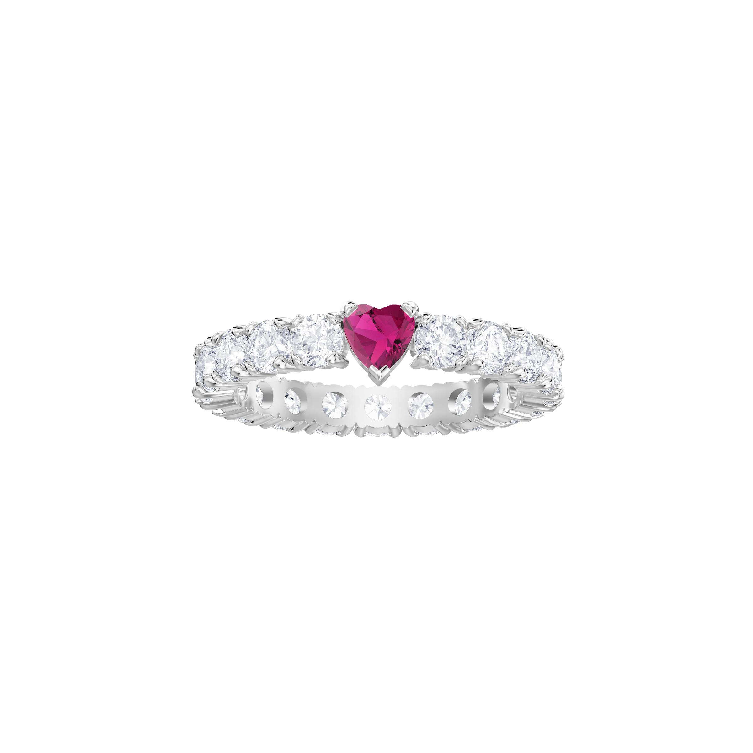 Love Ring, White, Rhodium plated