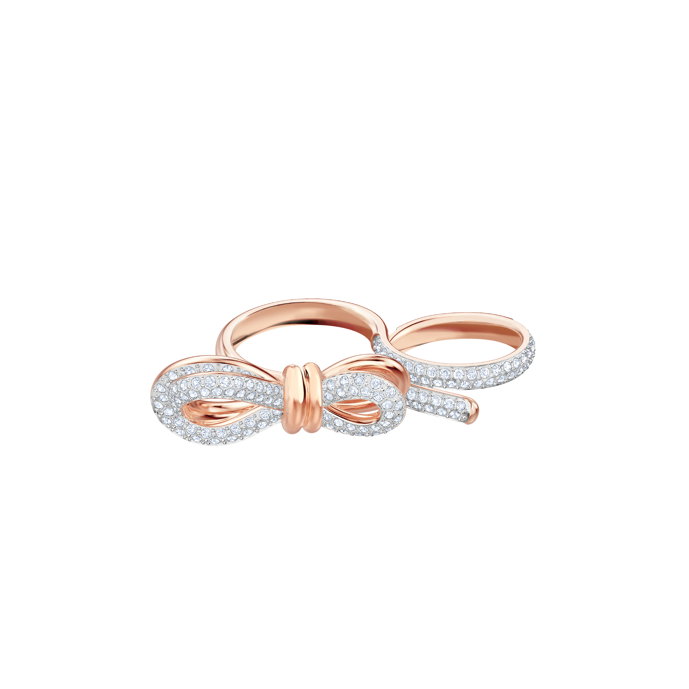 Lifelong Bow Double Ring, White, Mixed plating