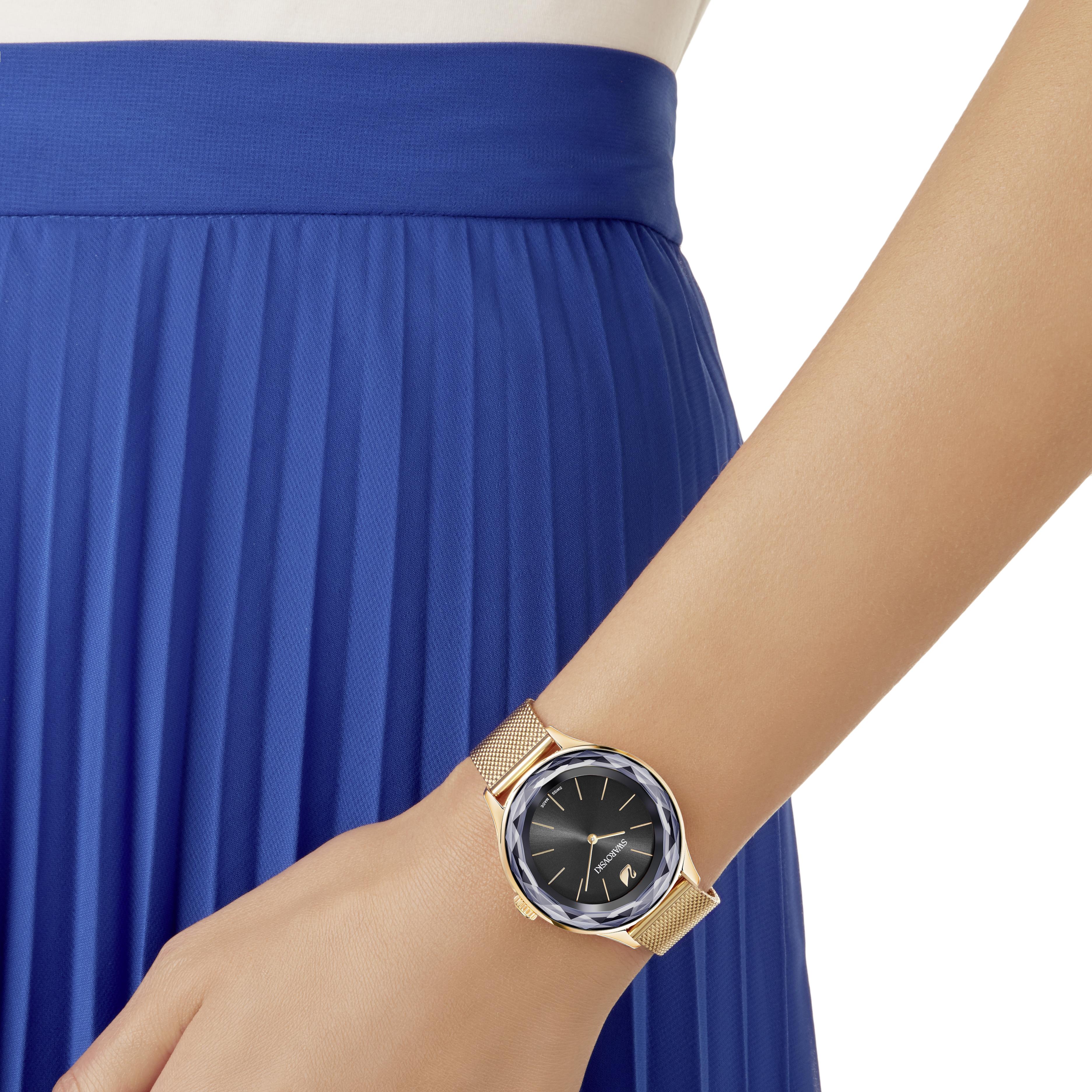 Octea Nova Watch, Milanese Bracelet, Black, Rose Gold Tone