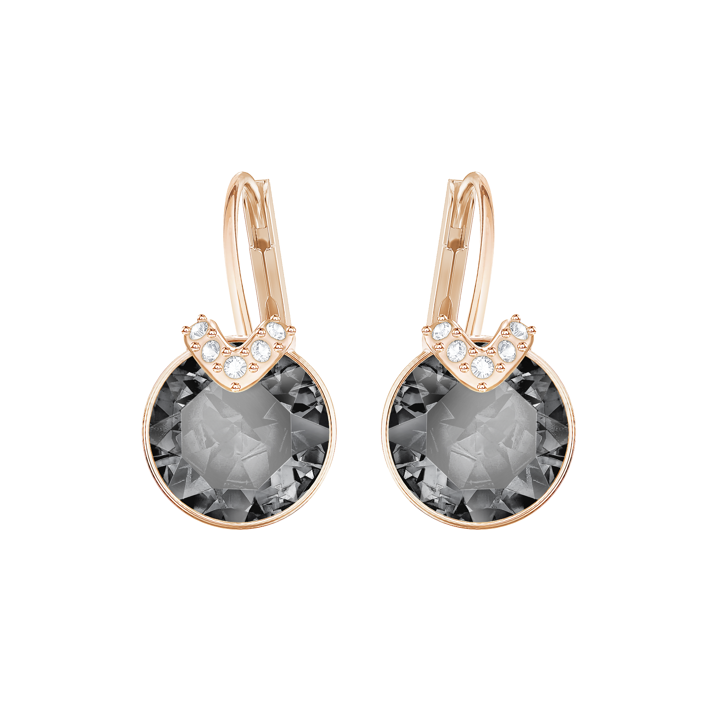 Bella V Pierced Earrings, Gray, Rose Gold Plated