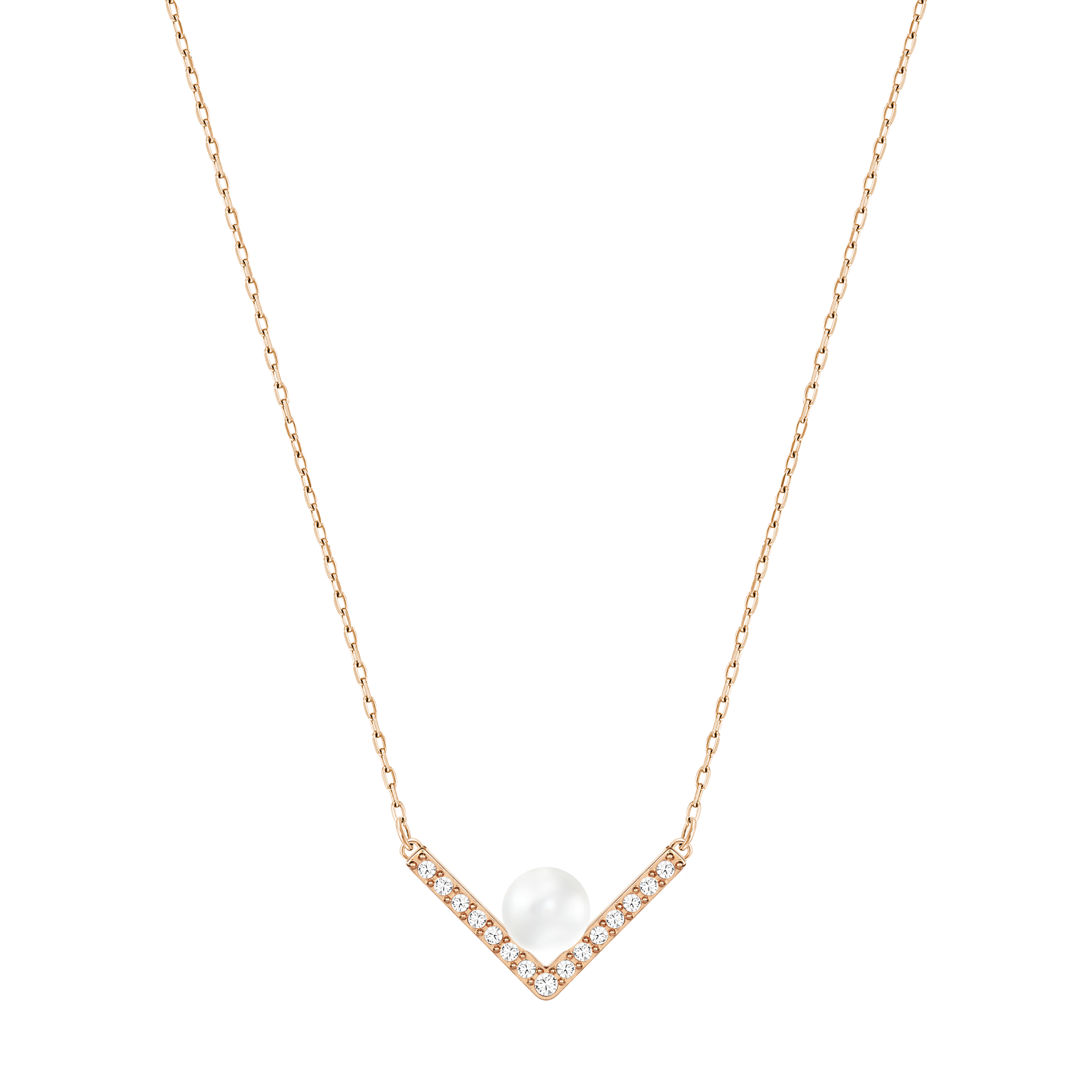 Edify Necklace, Small, White, Rose gold tone plated