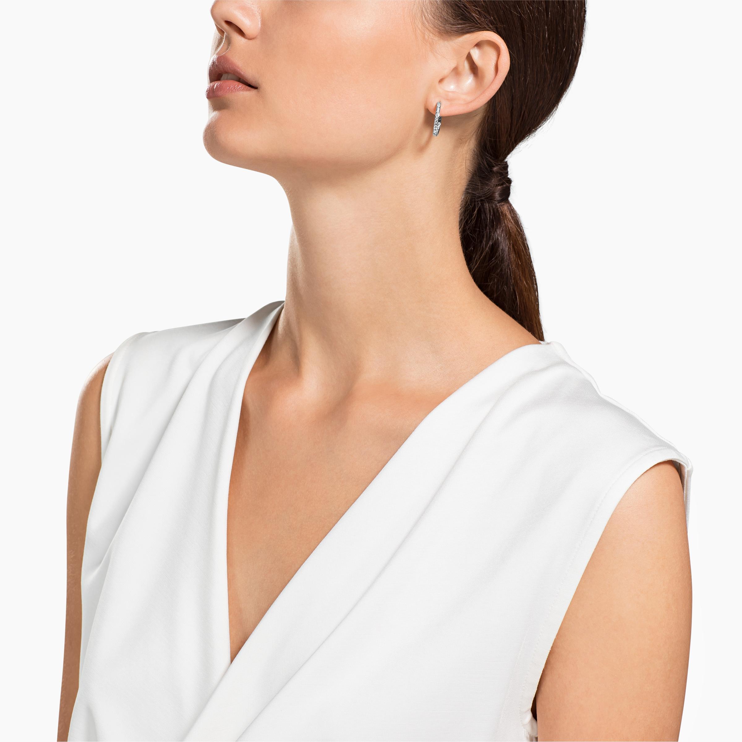 Sommerset Hoop Pierced Earrings, White, Rhodium Plating
