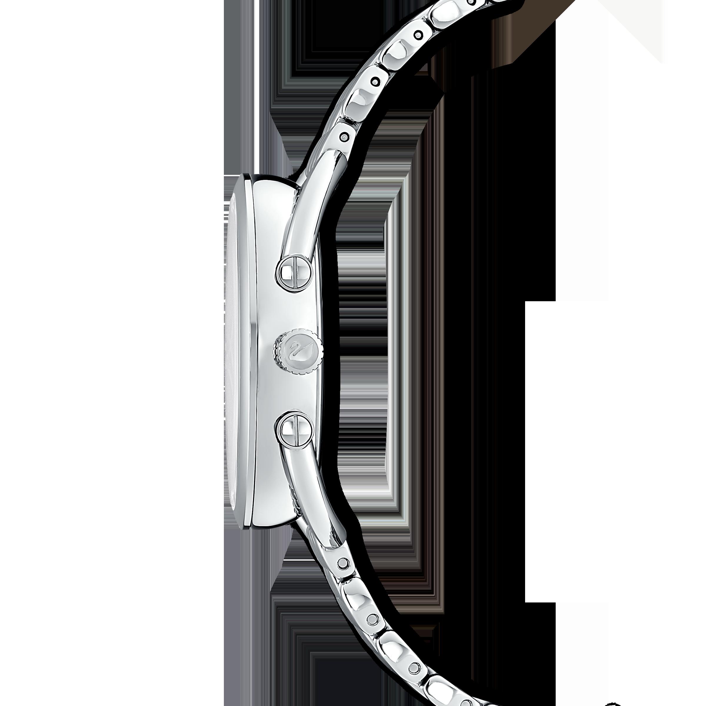 Crystalline Glam Watch, Metal Bracelet, White, Silver tone
