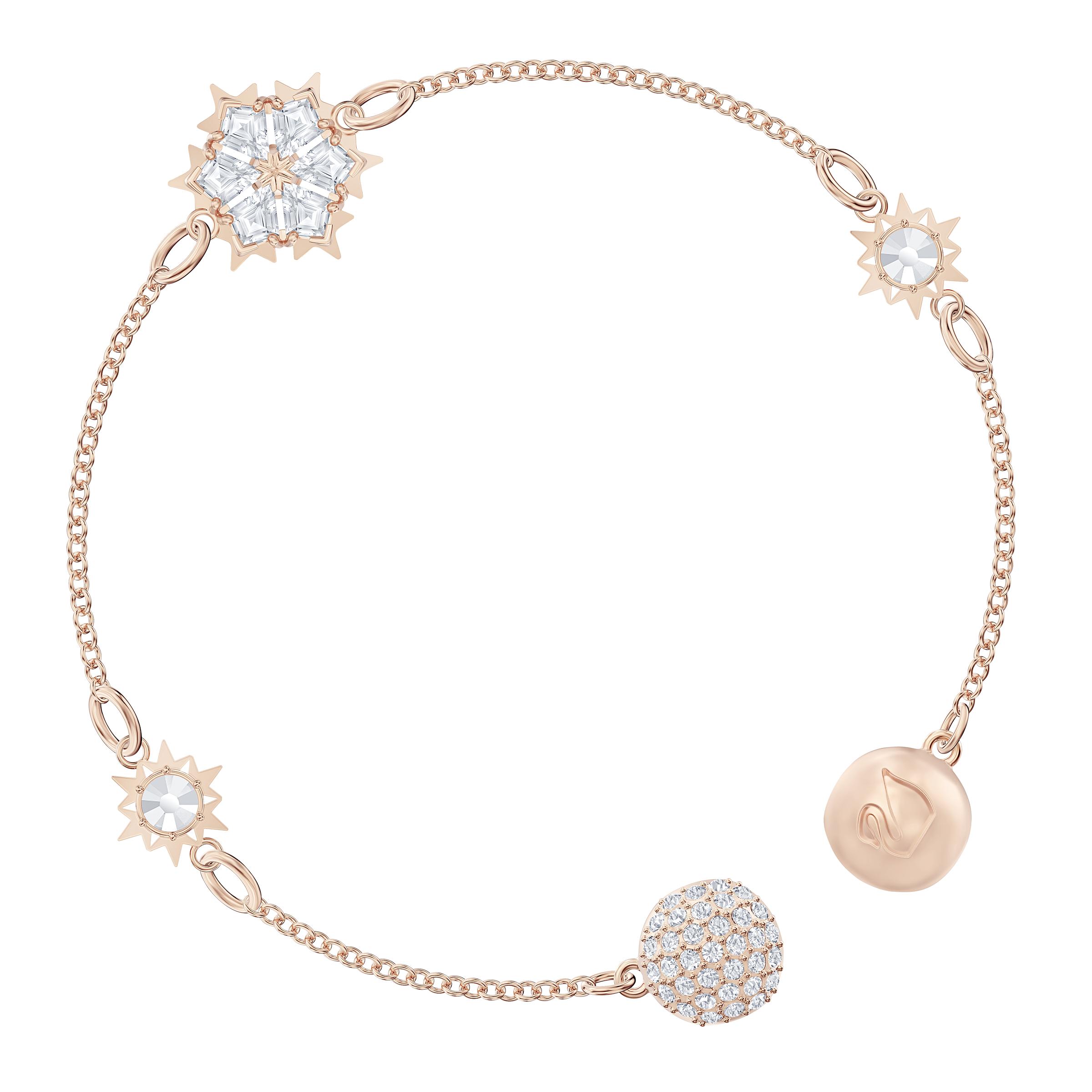 Swarovski Remix Collection Snowflake Strand, White, Rose-gold tone plated