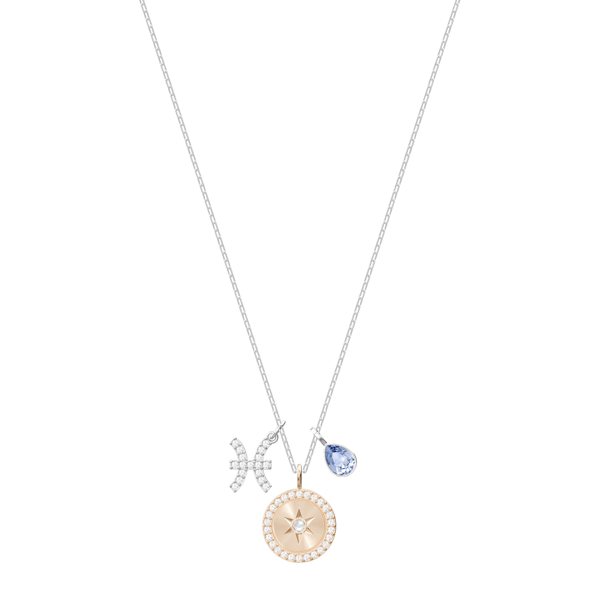 Zodiac Pendant, Pisces, Teal, Rhodium Plating