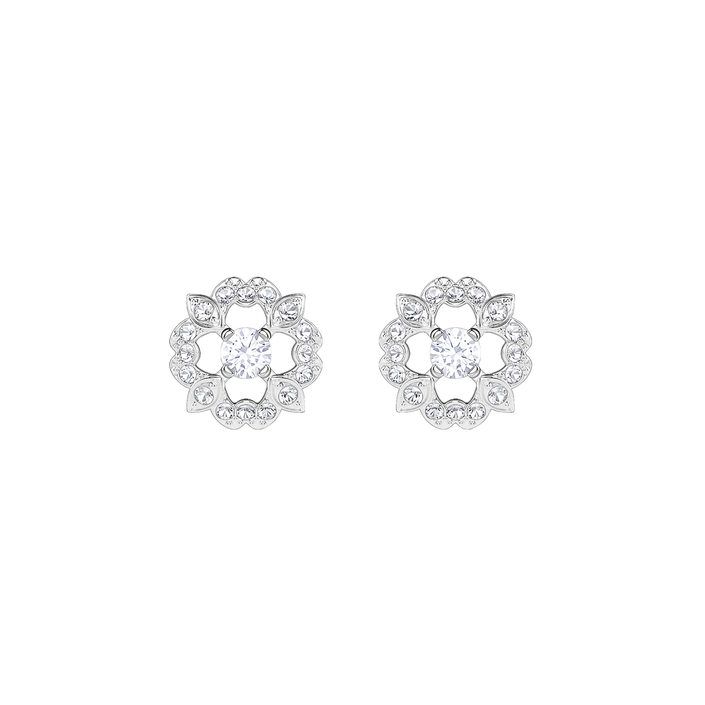 Sparkling Dance Flower Pierced Earrings, White, Rhodium plated