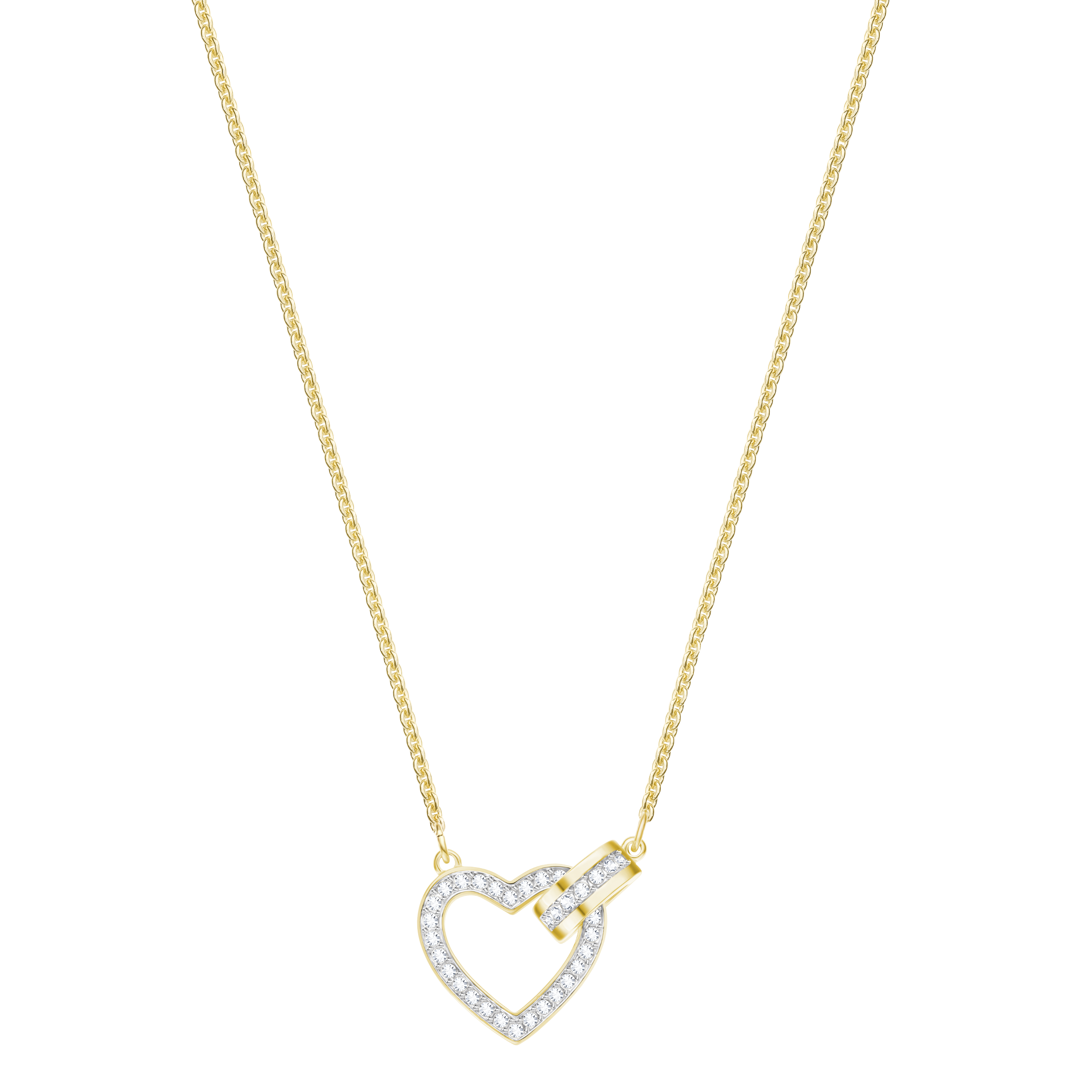 Lovely Necklace, White, Gold-tone plated