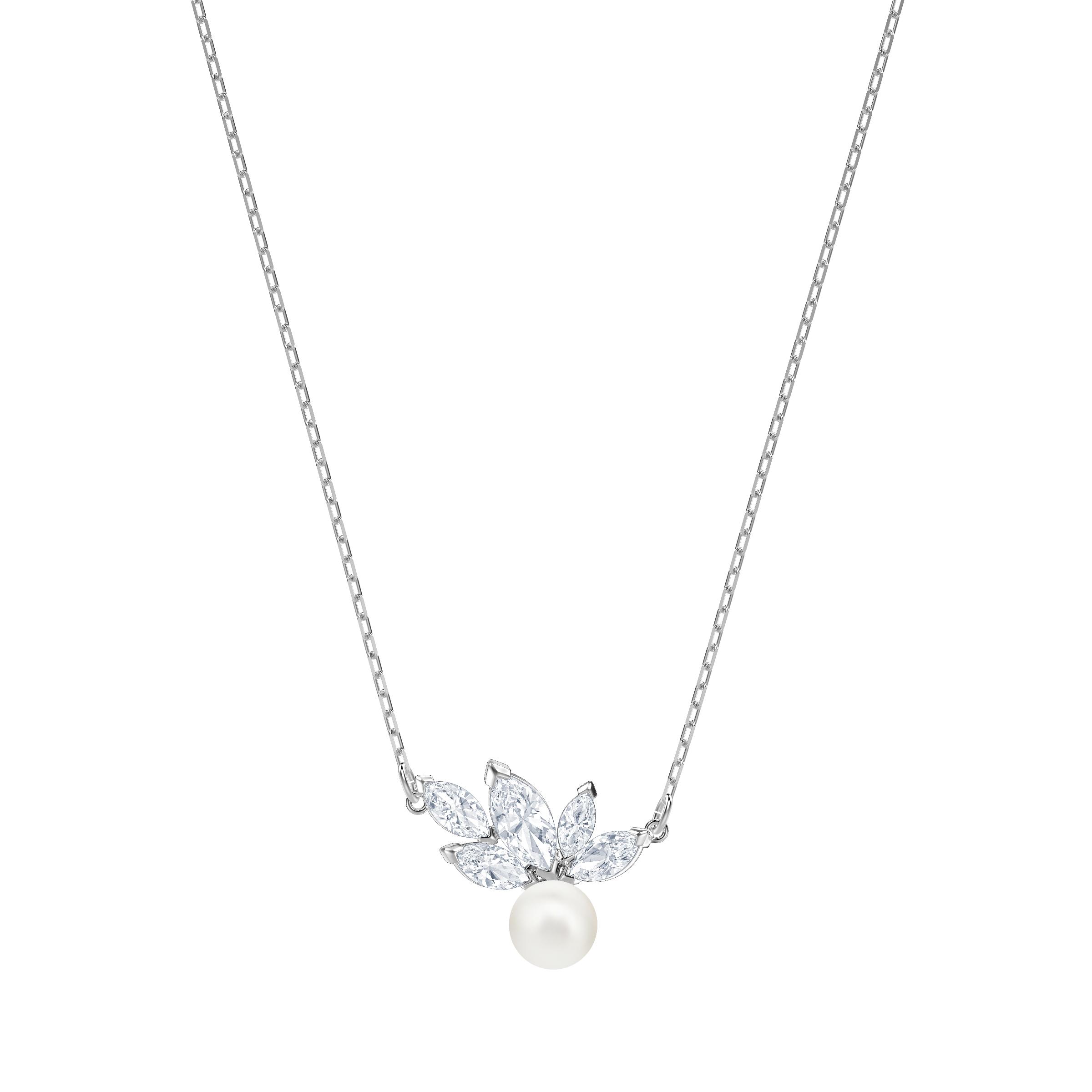Louison Pearl Pendant, White, Rhodium Plating