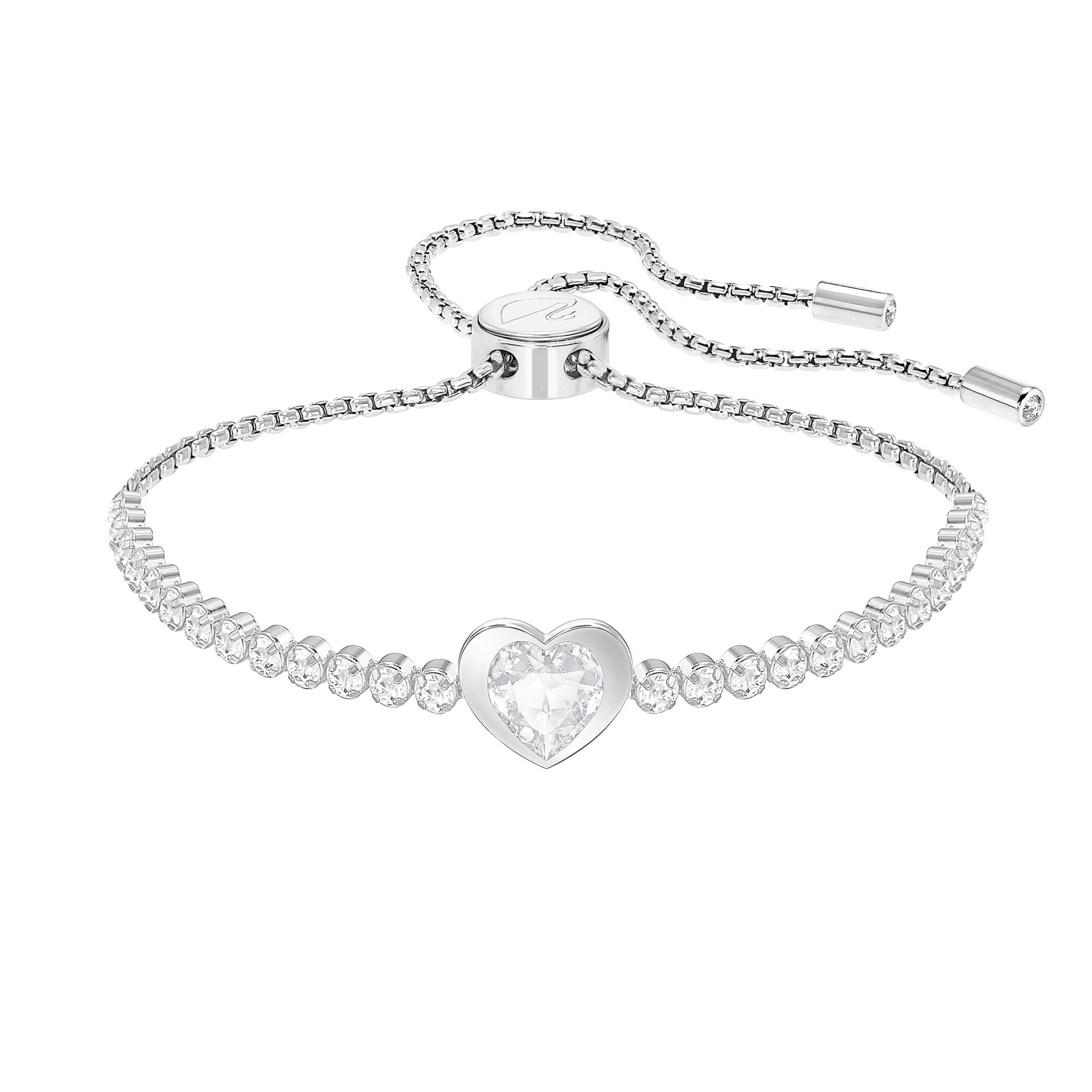 Subtle Heart Bracelet, White, Rhodium plated