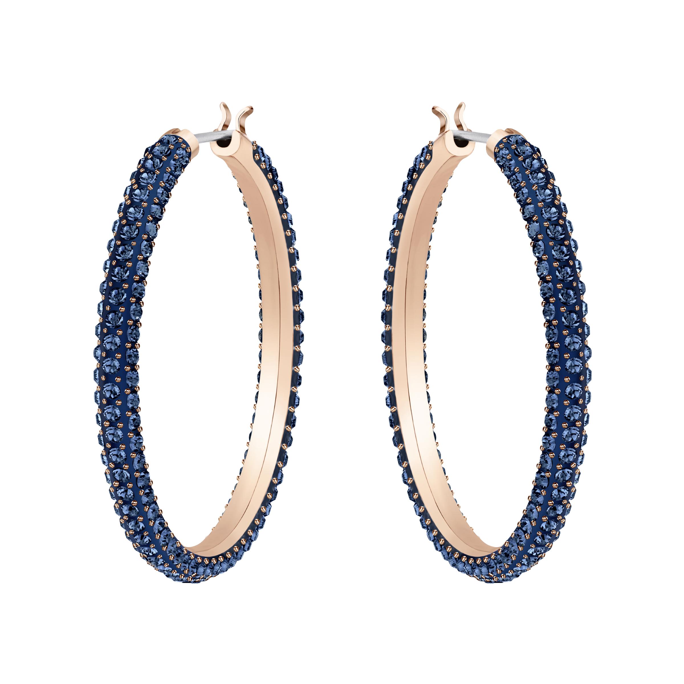 Stone Hoop Pierced Earrings, Blue, Rose Gold Plating