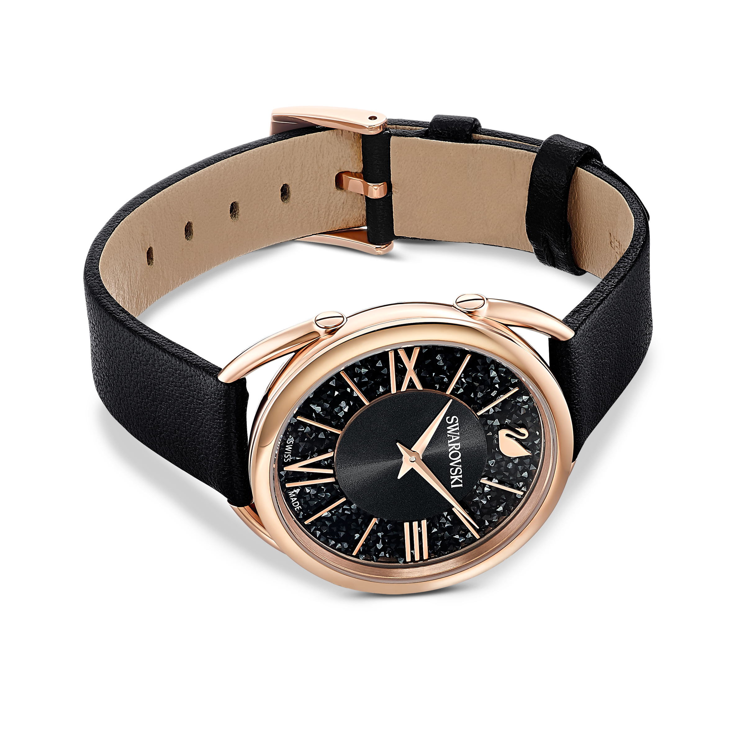 Crystalline Glam Watch, Leather Strap, Black, Rose gold tone