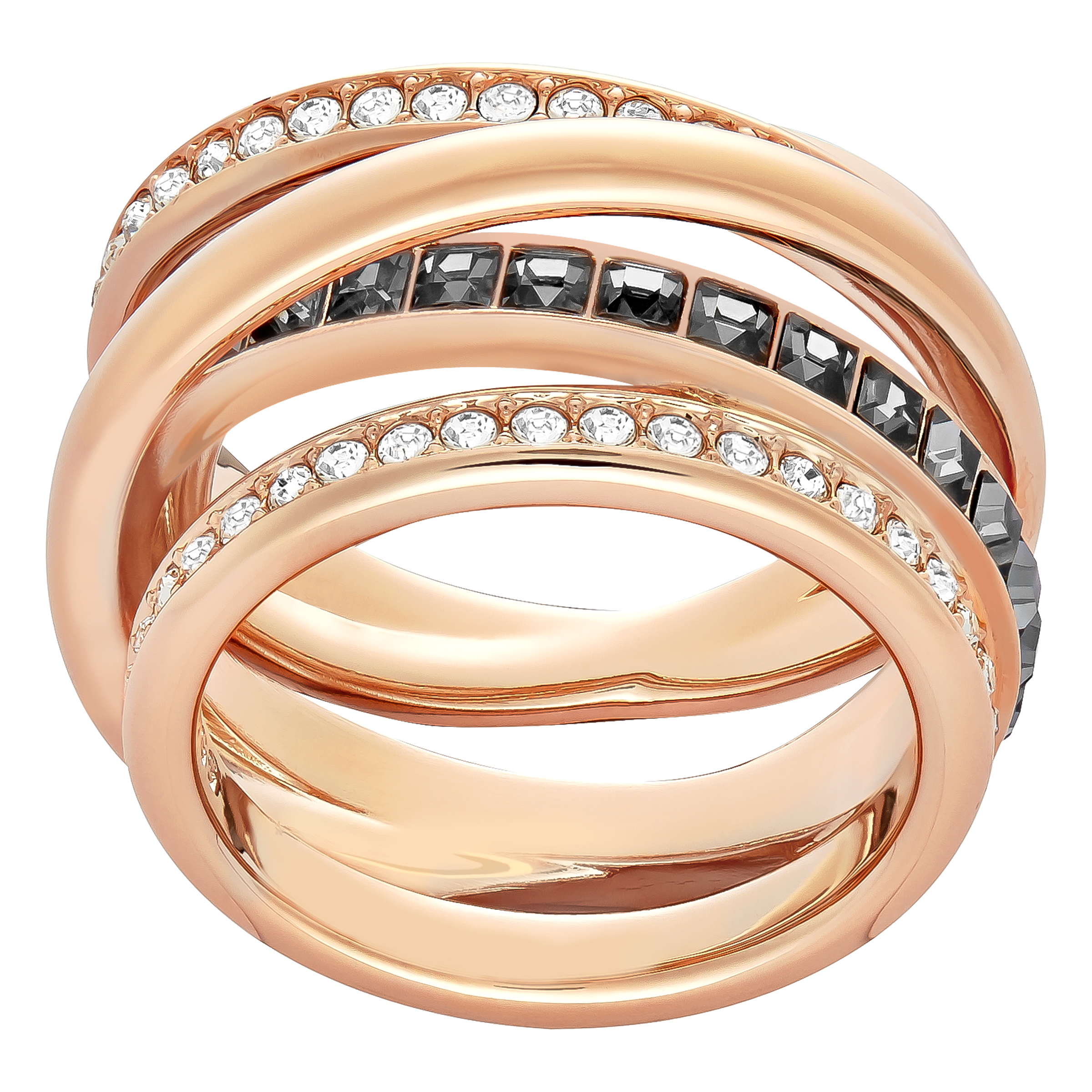 Dynamic Ring, Grey, Rose Gold Plated