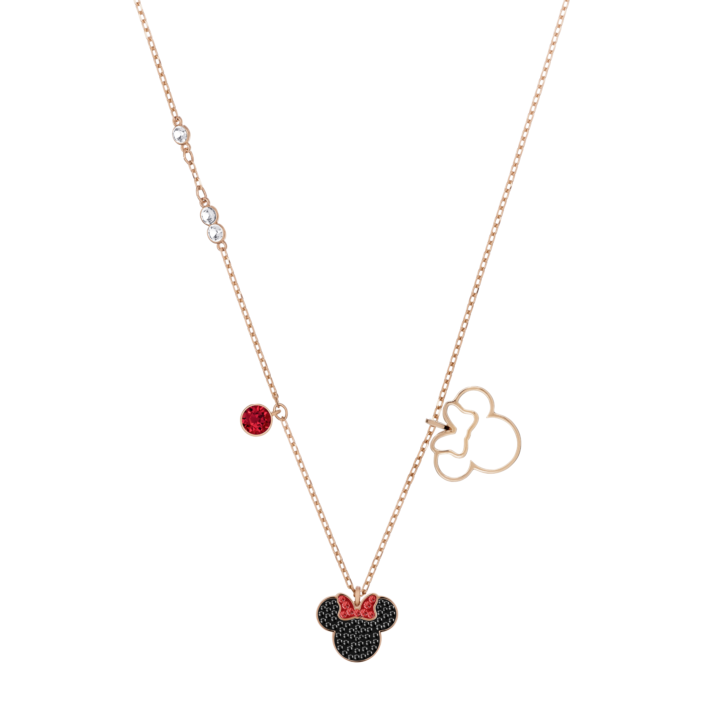 Mickey & Minnie Pendant, Multi-Colored, Rose Gold Plating