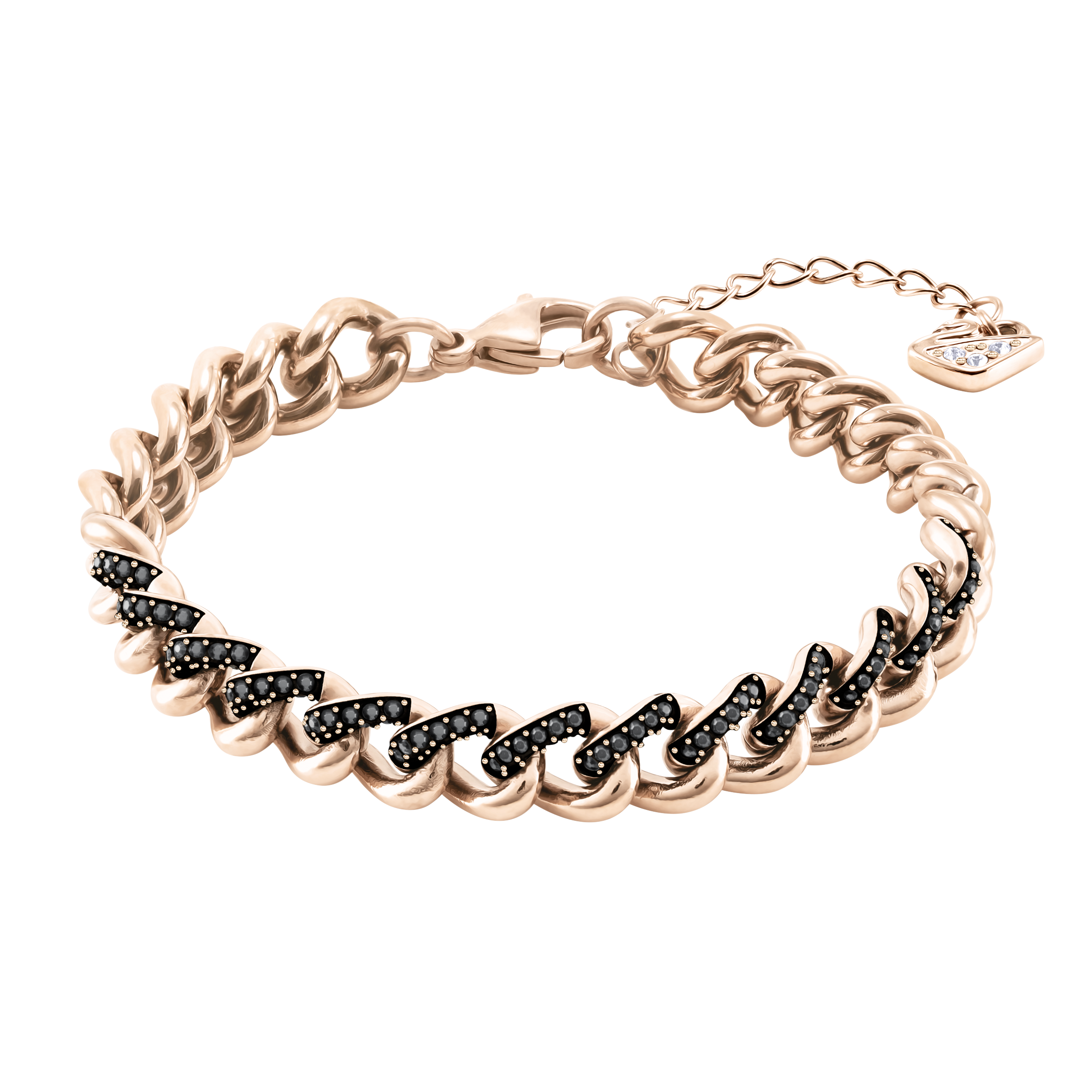Lane Bracelet, Black, Rose-gold tone plated